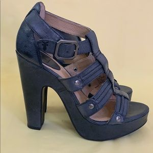 Frye Buttery Soft Leather Heeled Strappy Sandals